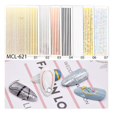 2020 popular DIY bar code line new designed Gold silver Nail Sticker for nail art decoration nail art decals