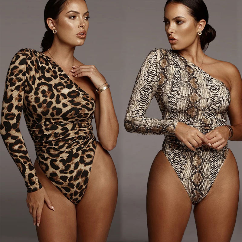 2021 Custom Zipper Deep V Neck One Piece Female Leopard Women Sexy Body Suit