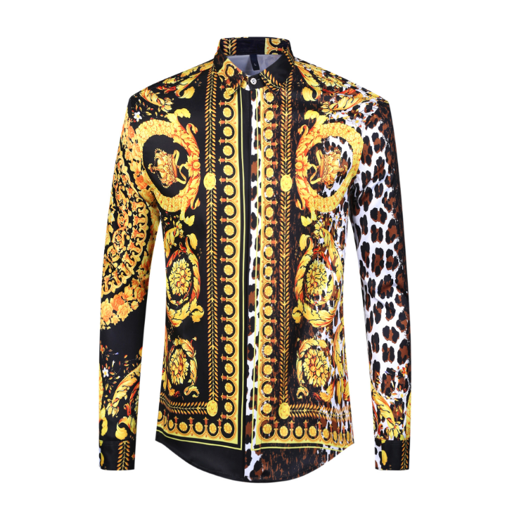 2019 Fashion Men Shirts New Hawaiian Shirt Long Sleeve Casual Slim Fit High Quality Golden Floral 3d Print Hot Sale