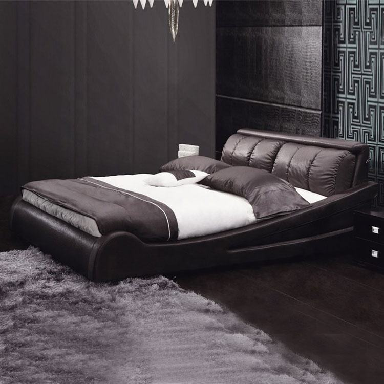 American modern countryside bedroom furniture full bed leather headboard with frame faux luxury leather bed