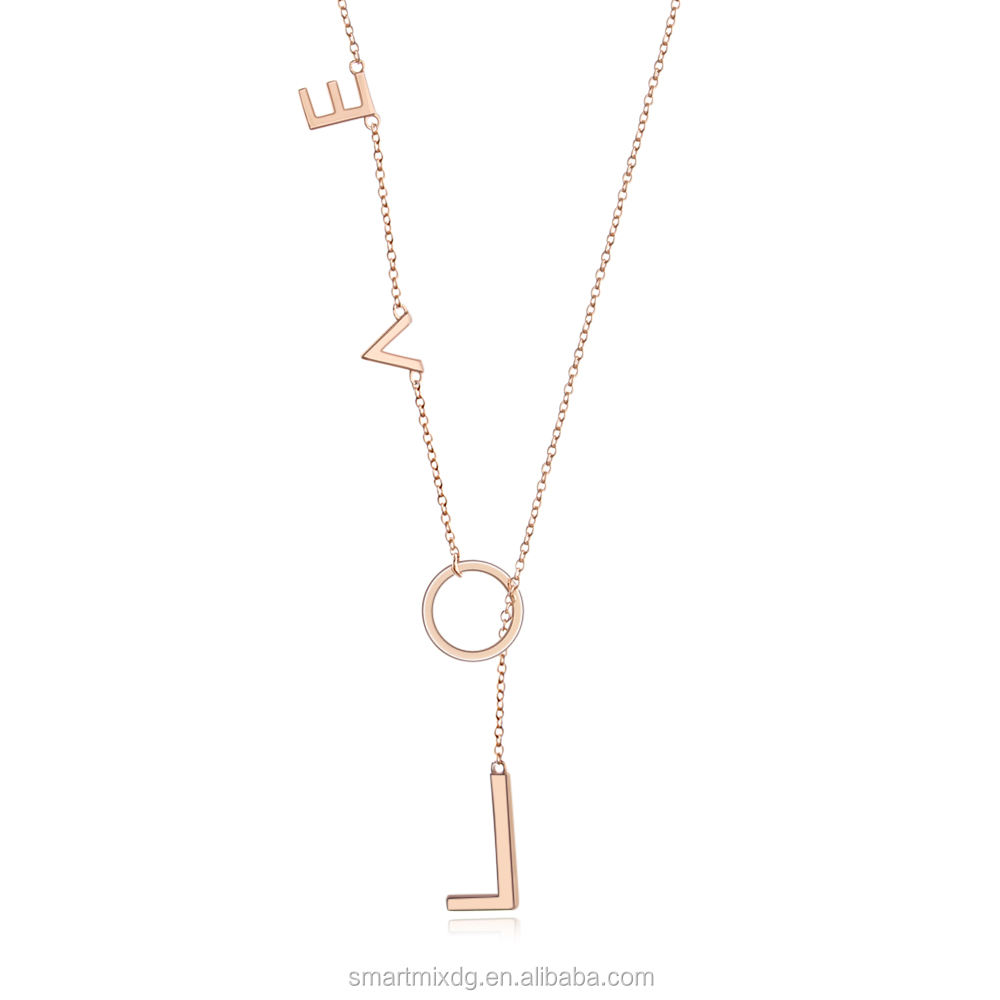Packaging Customization [ Love Necklace ] Lariat Necklace Women'S 925 Sterling Silver Forever Love Y Shaped Necklace Circle Lariat Necklace