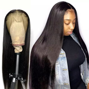 Glueless Wigs Human Hair Lace Front Natural Hairline Silky Straight Wigs Human Hair Brazilian Ready To Ship Wig