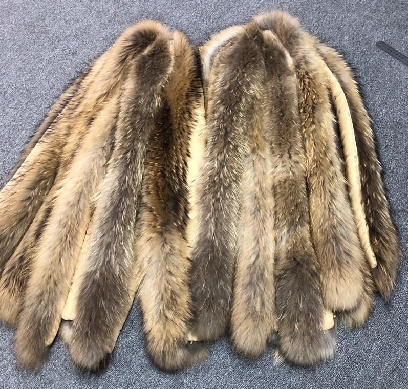 Factory wholesale fluffy and soft customized size and color real raccoon fur trim for hood