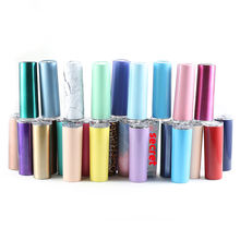 Customized design Double walled insulated vacuum coffee printing 20oz Stainless steel skinny tumbler with lid and straw