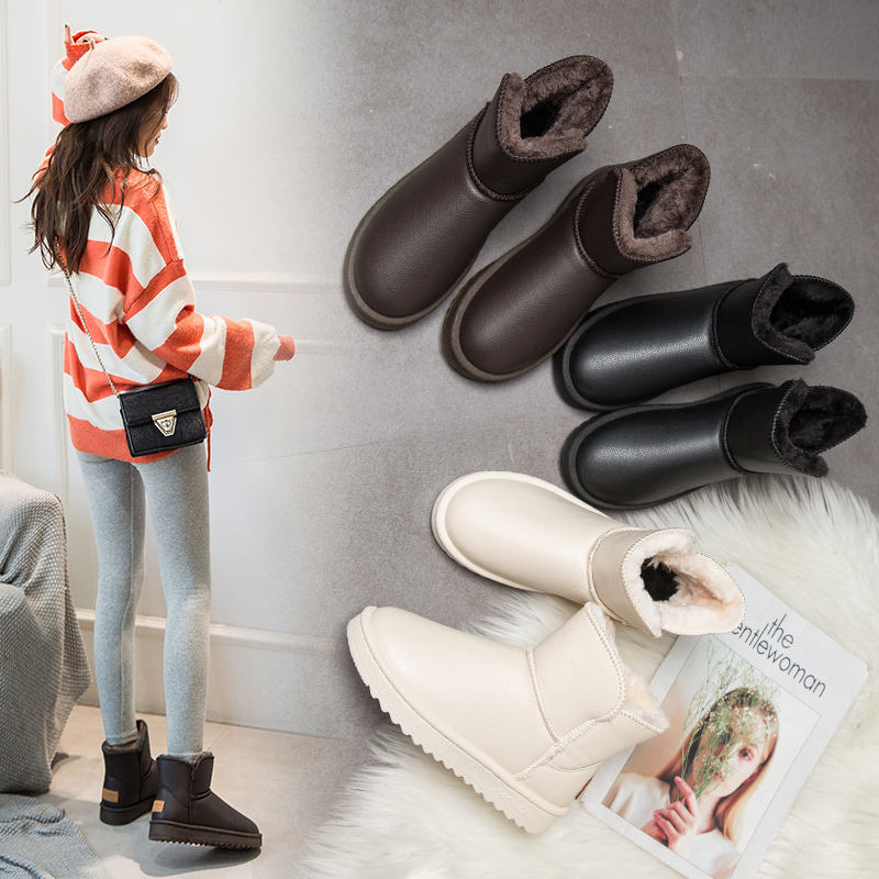 Custom logo white comfortable winter waterproof leather snow boots for women