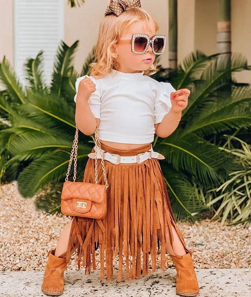 New Summer Little Girl 2個Outfit Set White Puff Sleeves Shirt + 子供Brown Tassels Skirt 2個Fashion Toddler Girl Garment