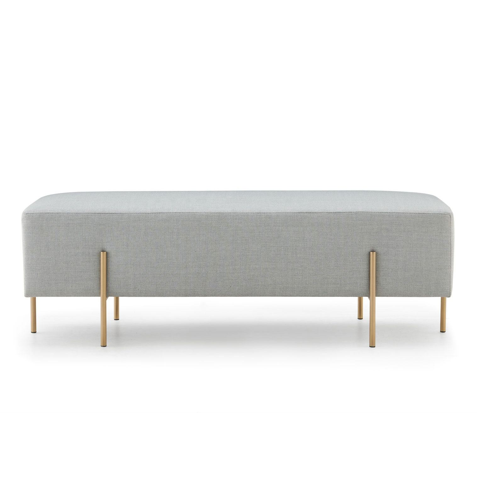 Modern bedroom grey fabric and metal stool chairs living room long upholstered bench ottoman