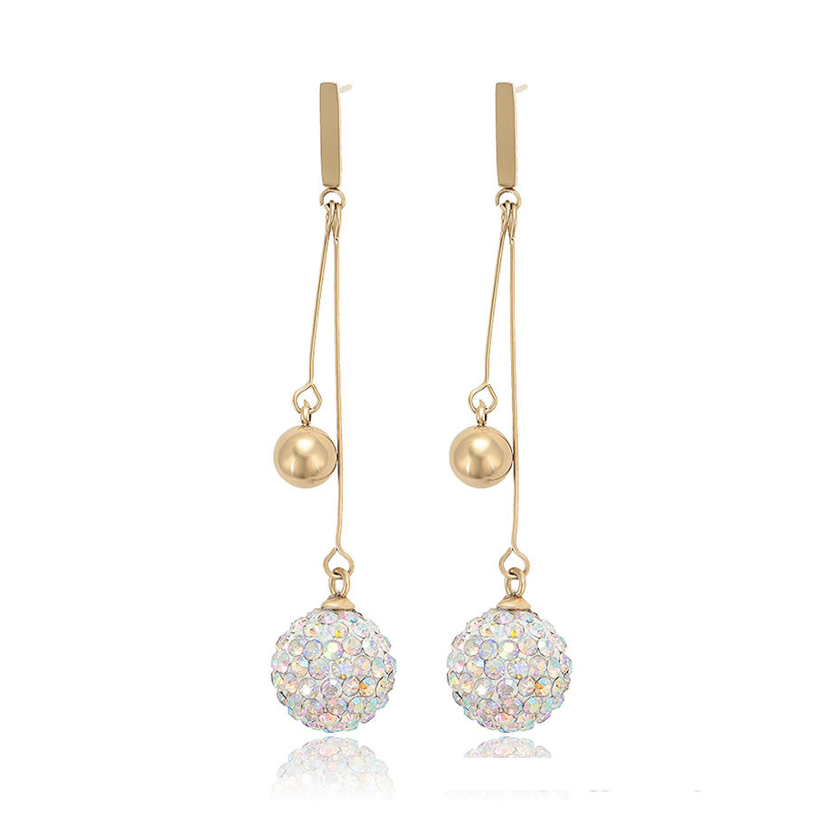 99508 xuping elegant gold bead and ball with crystal stone hot selling drop earrings