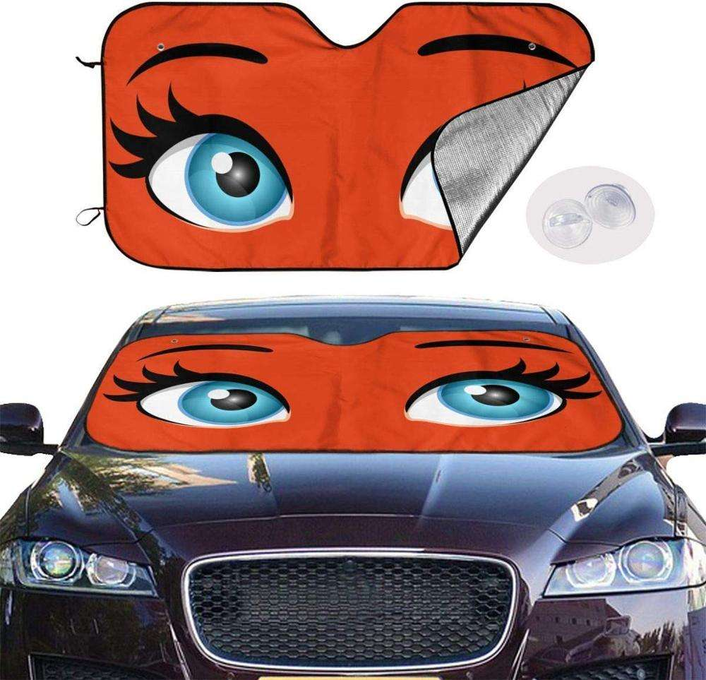Car Sun Shade Windshield Cute Cartoon Angry Eyes Sunshade, Portable Universal Car Sun Shade with Suction Cups Design