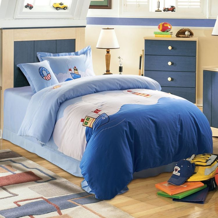 Blue cartoon child bedcover fabric peach skin bed sheet fabric microfiber print