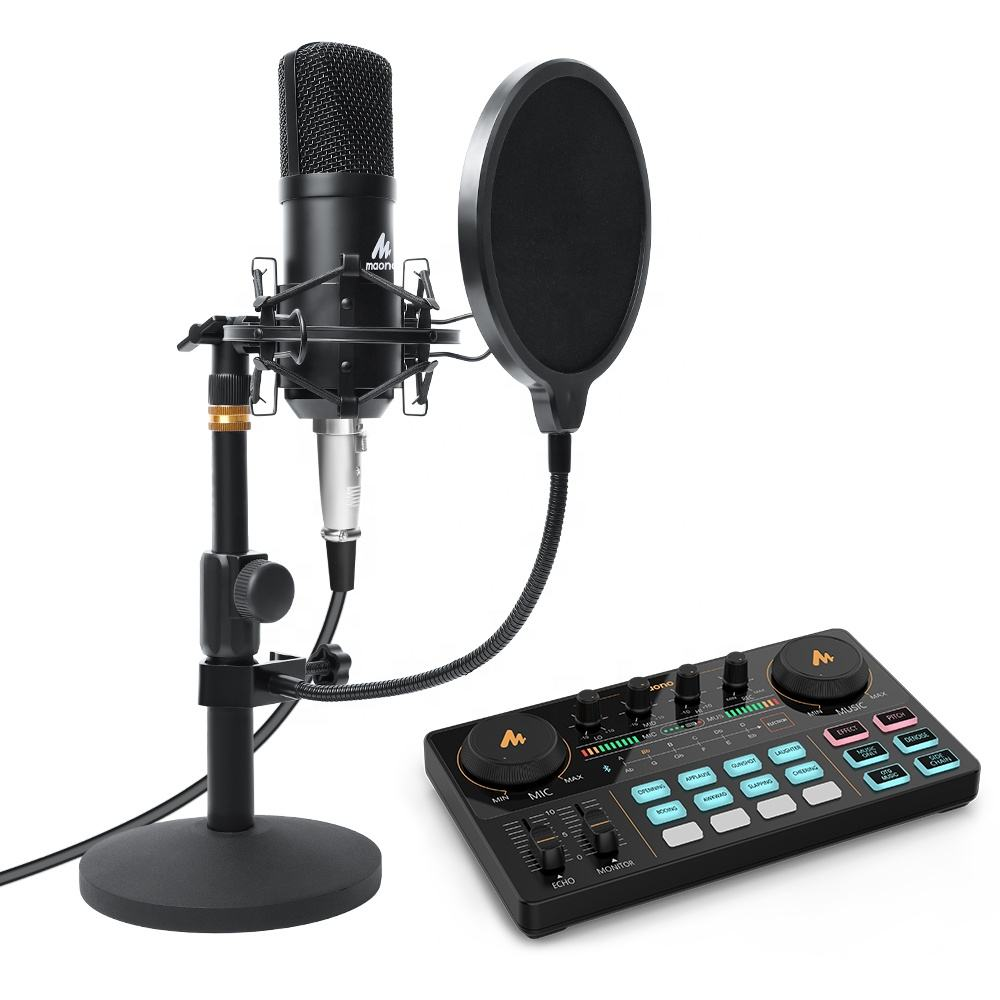 MAONOCASTER LIVE Professional Microphone With usb Audio Interface Streaming for Studio Condenser Microphone with audio mixer