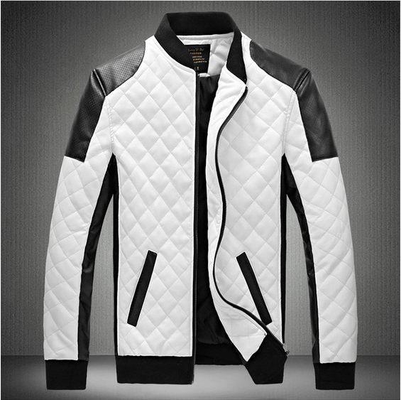 Hot Sale 2020 Men's Diamond Pu Coat Skin Color Leather Collar Locomotive Jacket