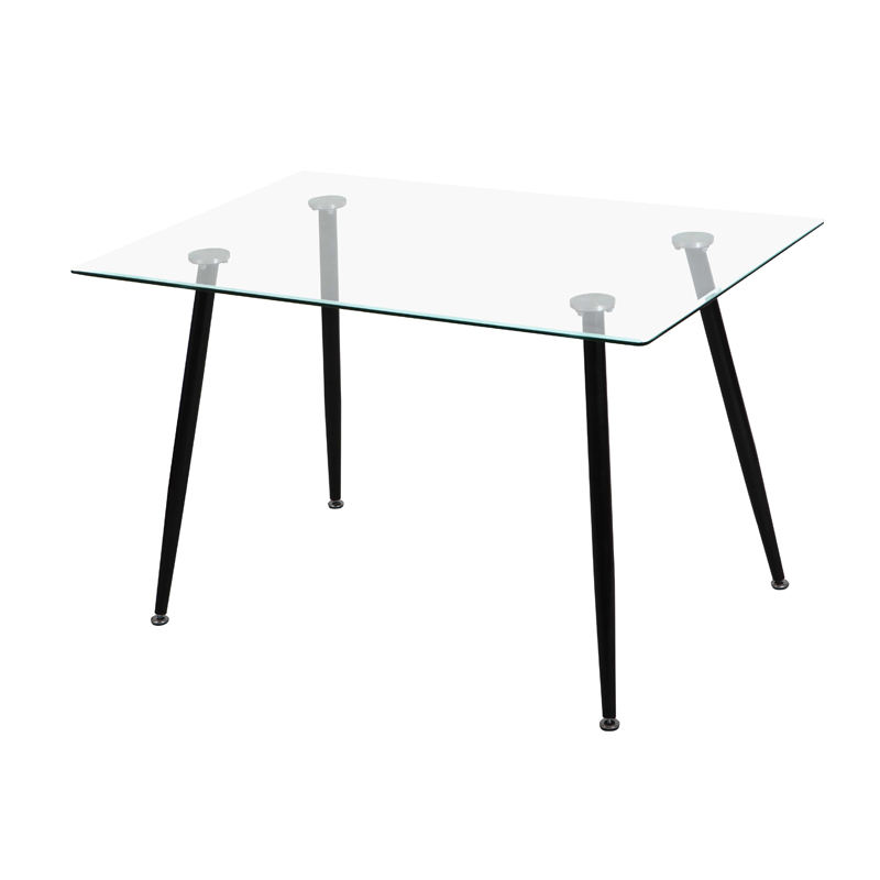 Home furniture modern tempered transparent square glass dining table