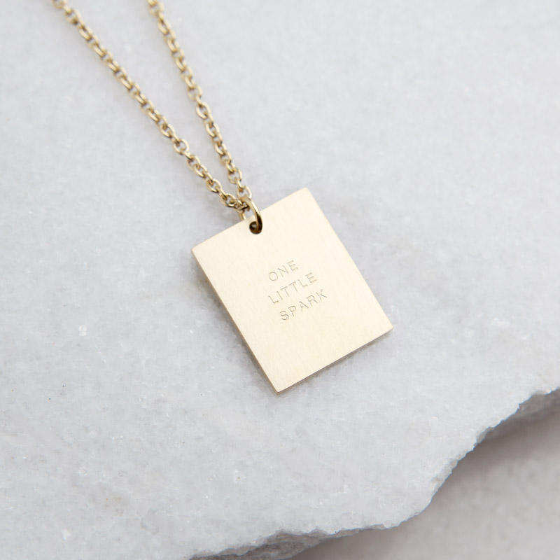 Stainless Steel Gold Plated Square Geometric Jewelry Engraved Words Quotes Message One Little Spark Rectangle Pendant Necklace