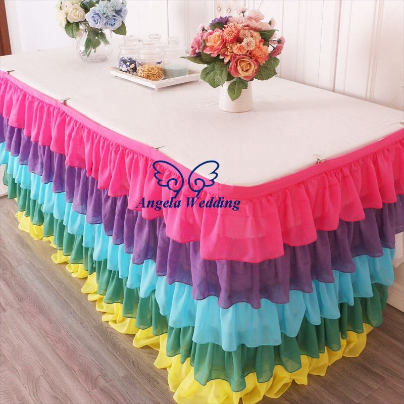 SK008Cdifferent Wedding five tiered pleated colorful hot pink purple blue green yellow chiffon table skirt or table cloth