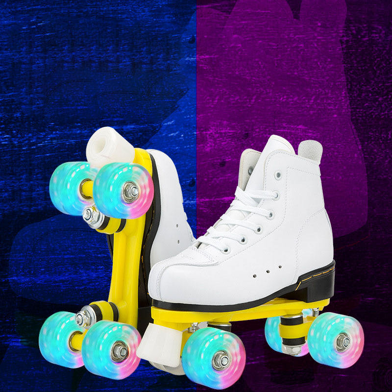Children's skating shoes double row roller skates suit double row four wheel Pu flash roller skates