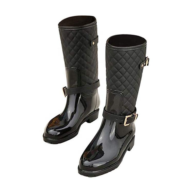 Fashion Motorcycle Wide Calf Knee-High Riding Boot Rain Women s Boots