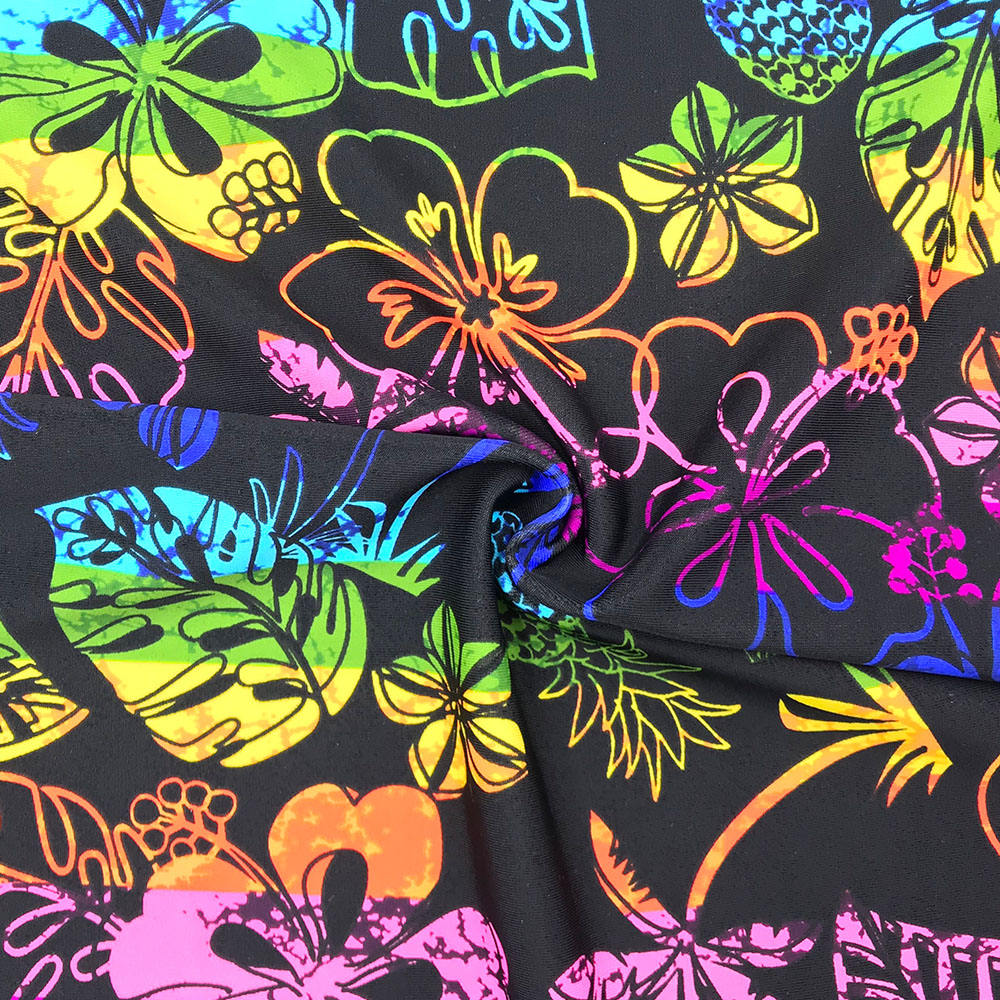 Custom 82% Nylon 18% Spandex Digital Printing 4 Cara Stretch Lycra Fabric Kain Elastis Kain #