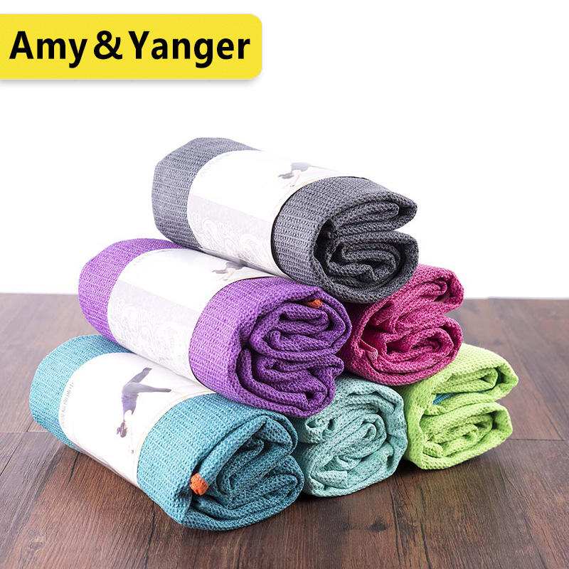 Microfiber double layer fleece yoga towel, fast dry and nice sweat absorb