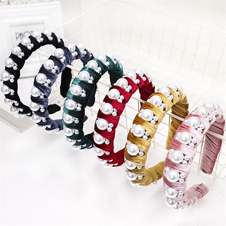 Ruigang Fashion Trendy Korean Hair Accessories Big Small Pearl Velvet Headbands For Girls Women