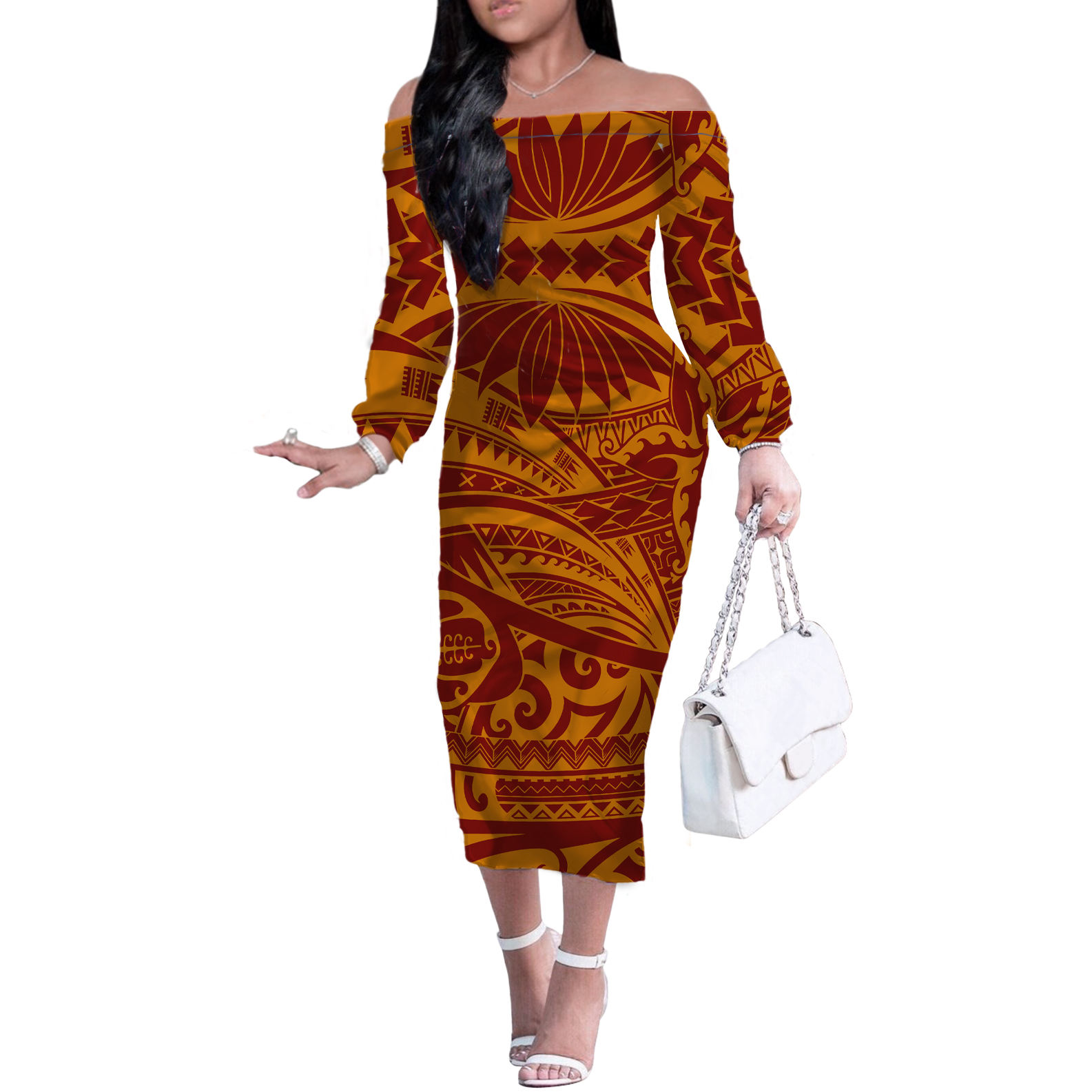 2021 Hot Sale 4XL women's wrap dress Printed Party Pencil Dress Polynesia Tribal Girls' long sleeve one shoulder dress