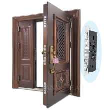 Luxury design high quality low price single double exterior security steel door price