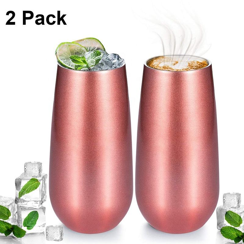 Stainless Steel Double Wall Insulated Stemless Wine Glasses Tumbler Wine Cups