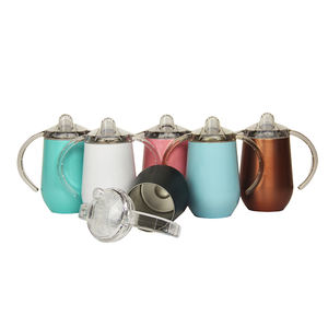 8 Oz/14 Oz Double Wall Vacuum Insulated 304 Stainless Steel Anak Bayi Sippy Cup Mug Tumbler untuk Air dan Susu