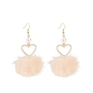 Hand Made Jewelry Korean Girl Sweet Pearl Peach Heart Earrings Ear Clip