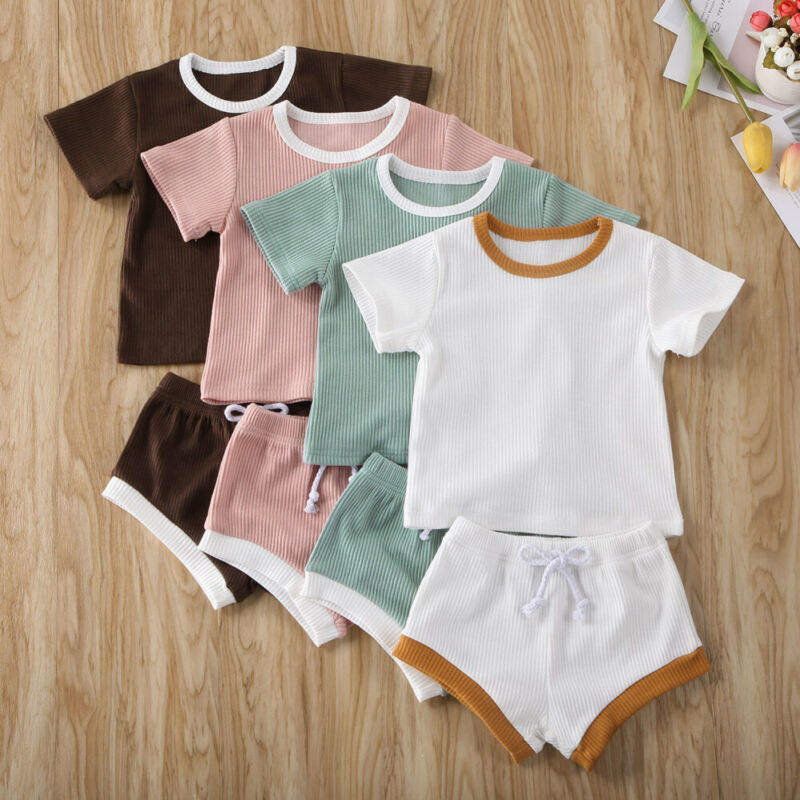 RST Short Sleeve Tops T-shirt + Shorts Pants set Ribbed Solid Outfits baby boys' clothing sets kids clothing