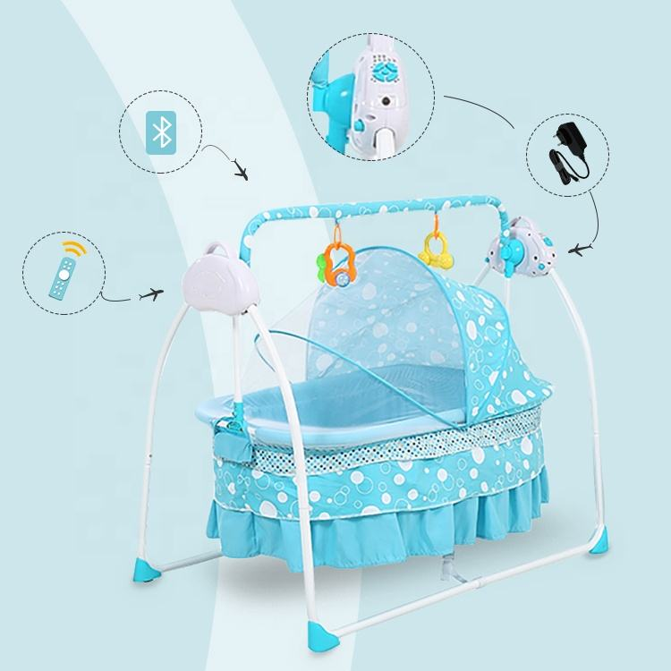 Easy carry mosquito net iron portable electronic automatic new born baby sleep cradle swing