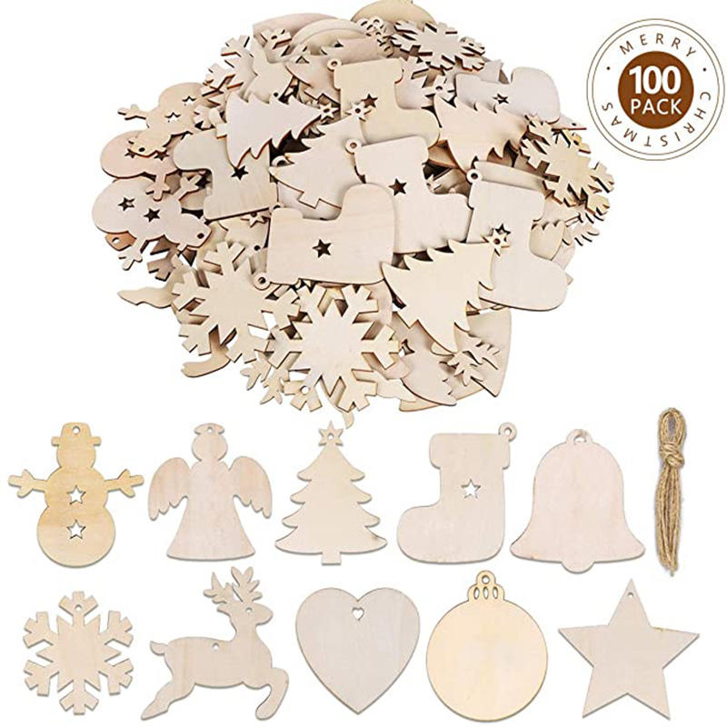 Guess 100PCS DIY Wooden Christmas Ornaments Predrilled Wood Circles for Crafts Centerpieces Holiday Hanging Decorations