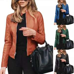 Women Autumn Winter Solid Color Stand Collar Faux Leather Zipper Slimming Coat Jacket coat Women Coats Long Sleeve Basic Jackets