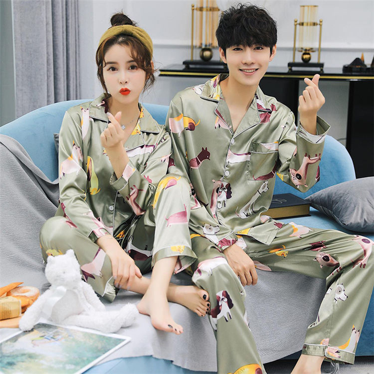 Silk Men and Women Pajama Sets Long Sleeves Sleepwear Men Suit Casual Pyjamas Men's Pajamas Sets Summer Silk Plus size