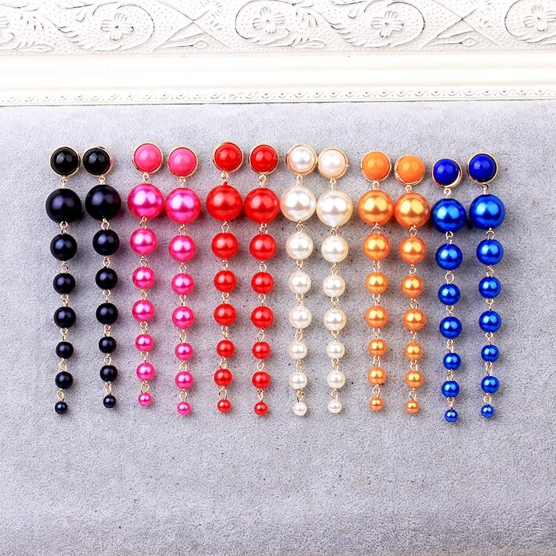 Trendy Long Pearl Earrings Fashion Jewelry Statement Boho Colorful Red Purple Royal Blue Party Wedding Gold Earrings For Women