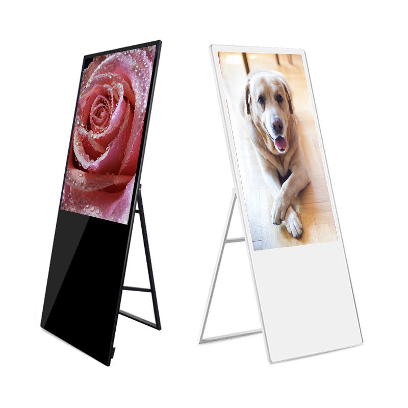 Indoor 43 inch digital signage totem ultra thin advertising player touch screen monitor floor stand billboard for restaurant