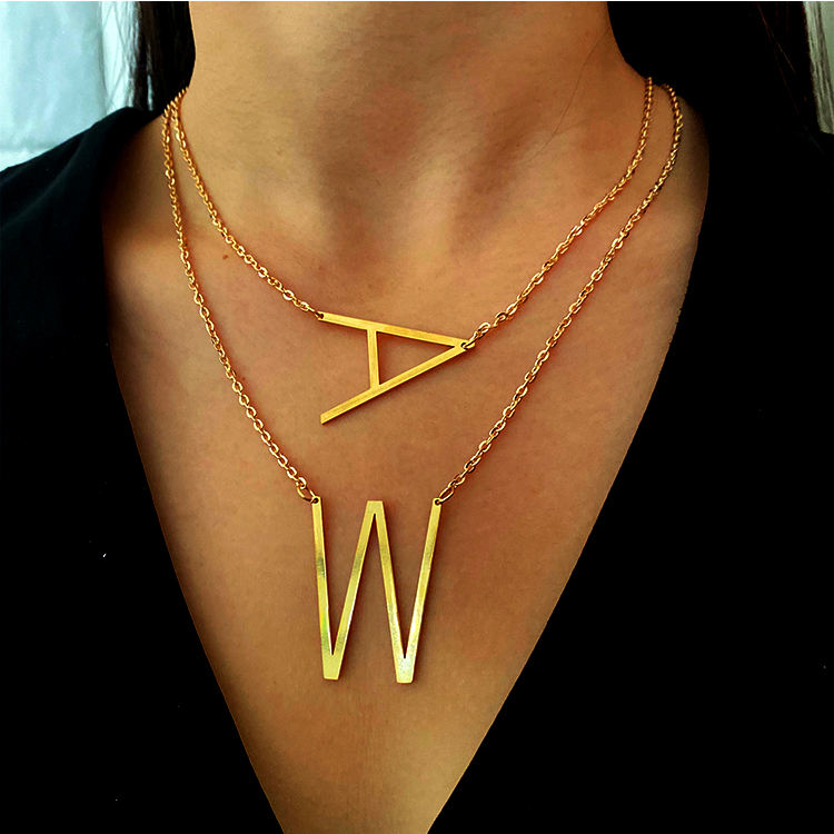 26 initial stainless steel alphabet letter pendant necklace jewelry women