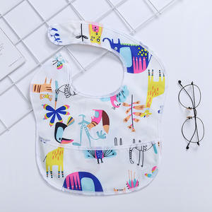 Printed eating feeding waterproof sublimation baby bibs polyester set