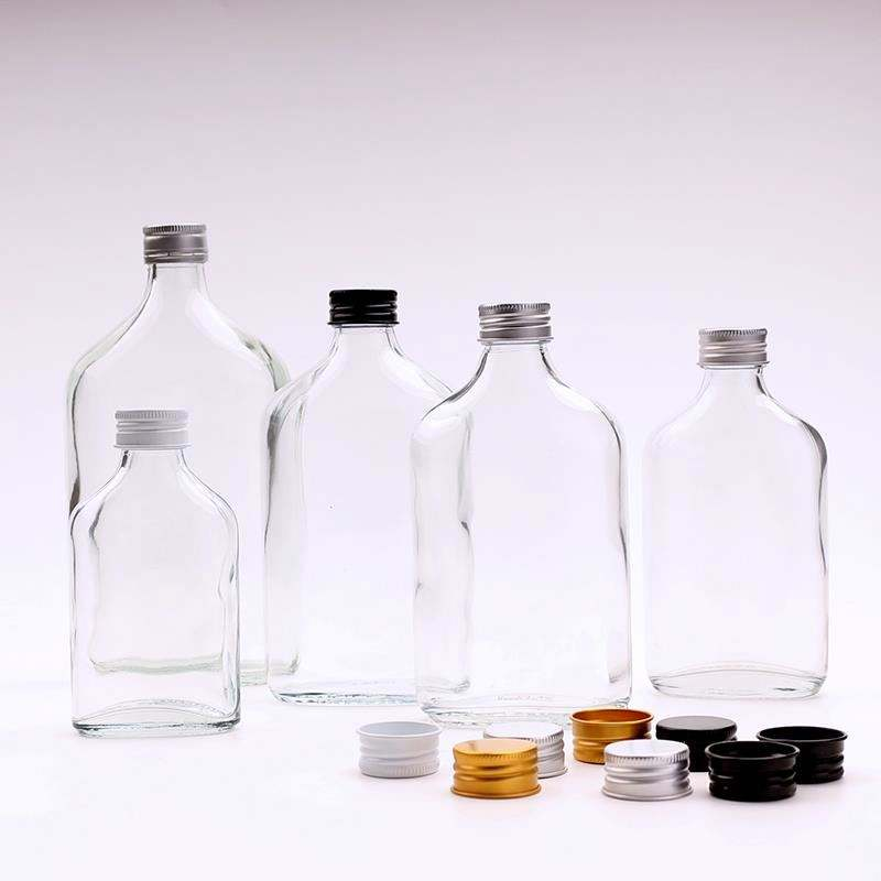 Clear Flat Hip Flask Beverage Packing Cold Brew Coffee Whisky Glass Bottles For Liquor Tea