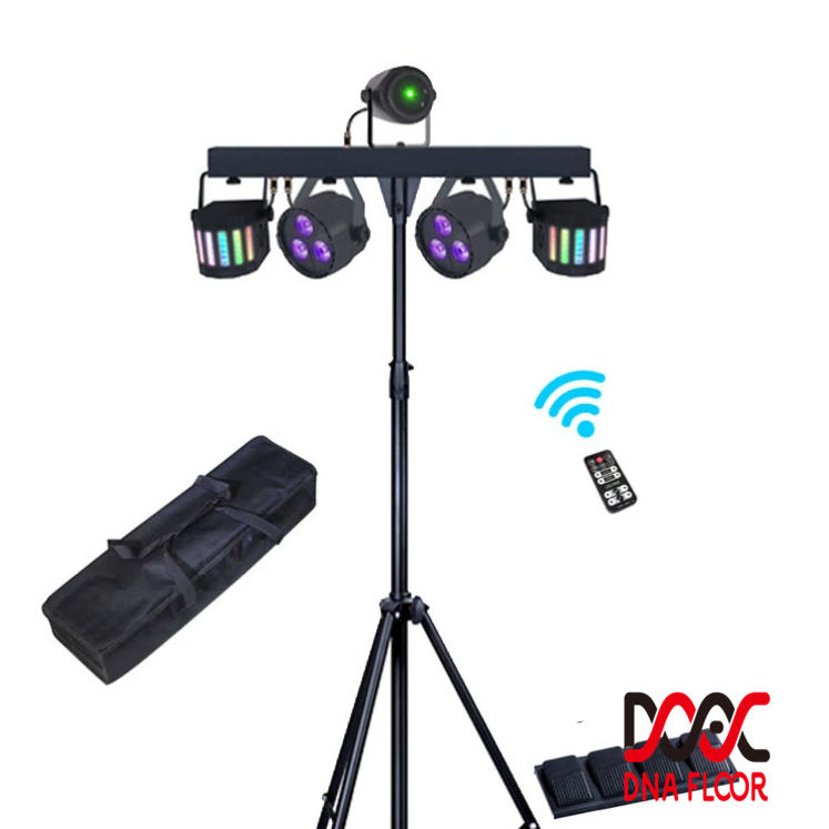 Multi-effect DJ Disco Lighting Package RGBW 4in1 Par Light and Moonflower Light Kit with Tripod Stand