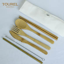 Customize Logo Portable Bamboo Travel Utensils Set Eco Friendly Reusable Wooden Bamboo Cutlery Set with Bag