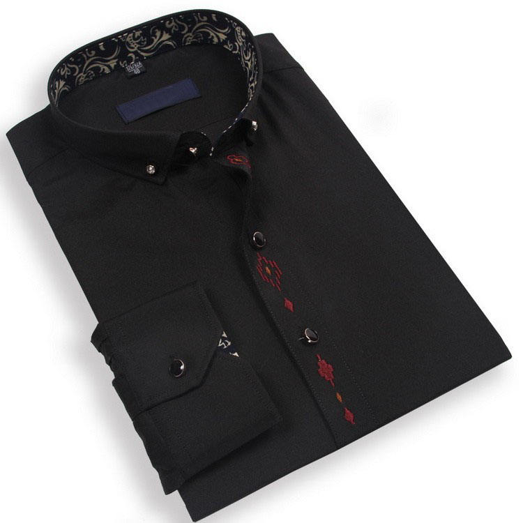 Made In China Wedding Dress Shirt 100% Cotton Plain Color Black Stylish Men Shirt