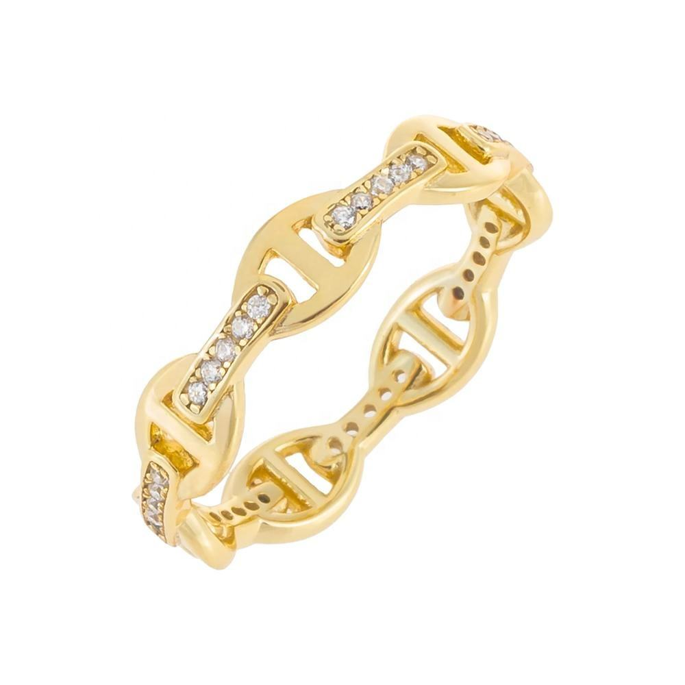 Luxury Jewelry 925 Silver Micro Pave CZ Link Chain Finger Ring Fashion
