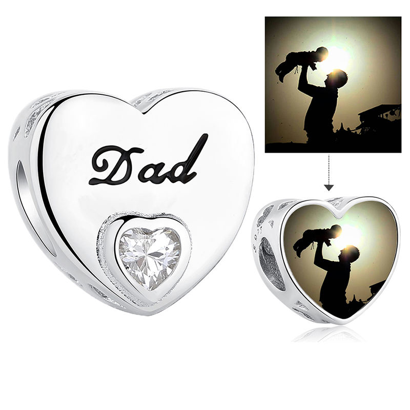 Fashion 925 Sterling Silver Clear CZ Heart Dad Bead Charms Fit Bracelet DIY Custom Photo Jewelry Father's Day Gift