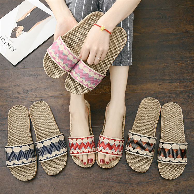 Women Flax Slippers Sandals Summer Comfortable Non-slip Ladies Flip Flop Cross-tied Casual Indoor Shoes Multicolor