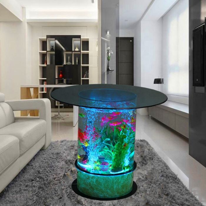 led lighting dancing water bubbles aquarium coffee table