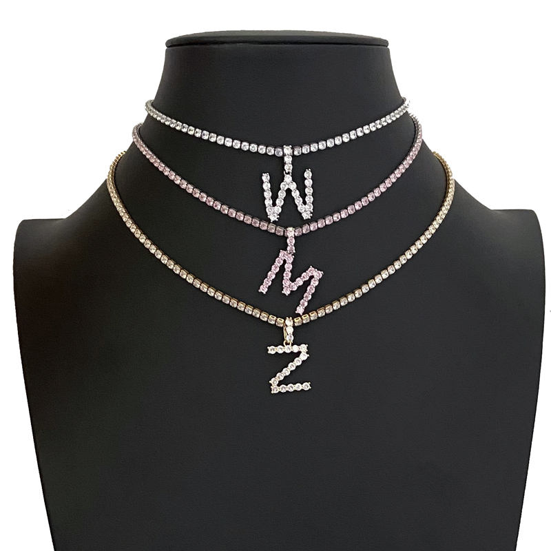 Wuzhou Foxi Custom Name Alphabet Letter Pendants Gold Plated Brass Diamond Tennis Initial Necklace