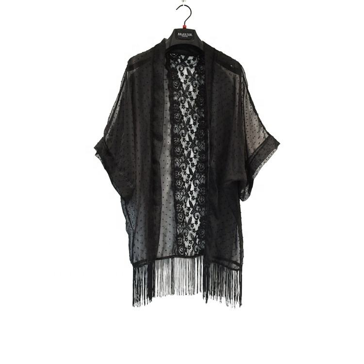 Women Black Lace Crochet Beach Cover Ups With Fringes At Hem Wide Sleeve Kimono