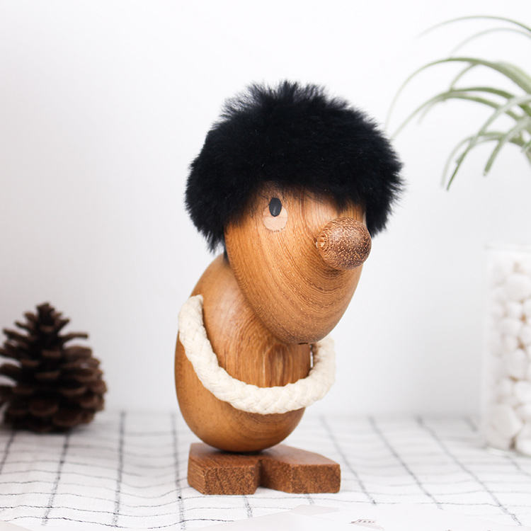 Nordic Solid Teak Wood Happy/Sad Fuzzy Man People Figurine Nice Home Ornament Decoration Wooden Puppet Fashion Kids Gifts & Toys