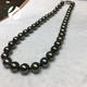 traditional natural color round shape high luster black Tahitian pearls necklace jewelry type